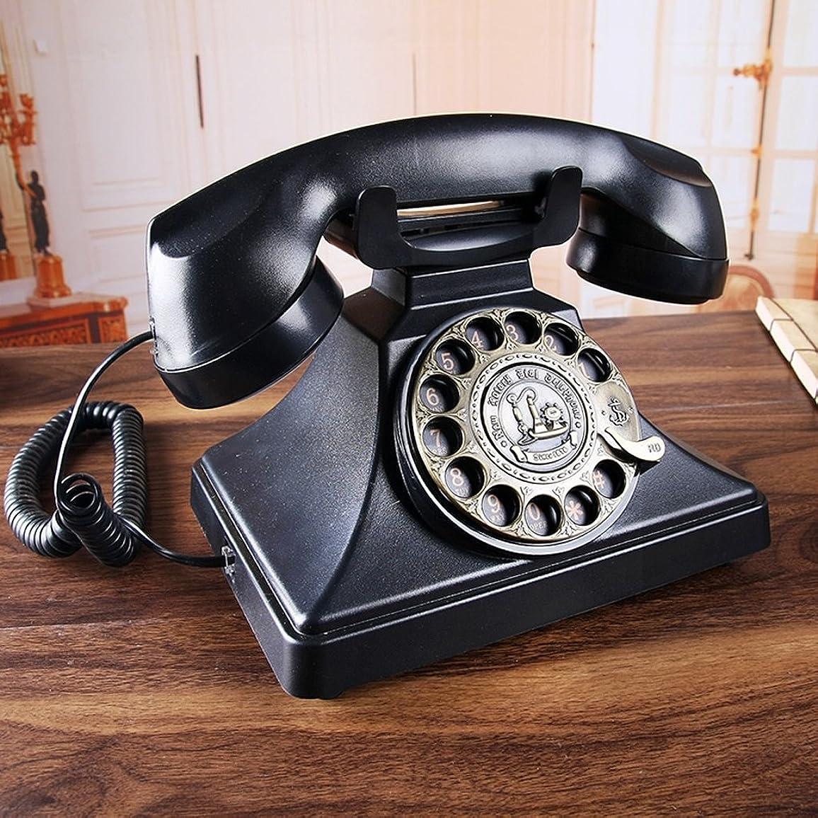 まだ薬理学幻想的NAMEI アンティーク電話/有線電話/ホームオフィスのデスクトップを回転固定電話/黒の機械着メロL22CM * W18CM * H20CM