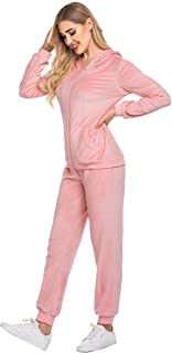 Sweatsuits Set Womens 2 Piece Sweatshirt & Sweatpants Velour Full Zip Hoodie Tracksuits Sportswear with Pocket