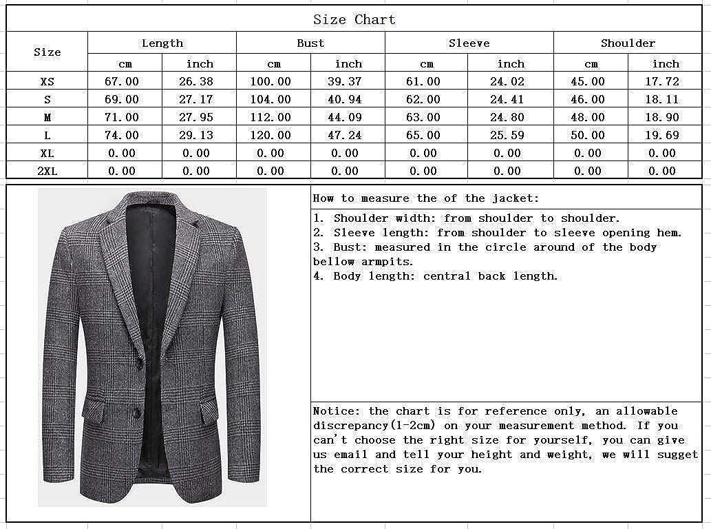chouyatou Men's Classic Notched Collar Slim 2 Button Plaid Wool Blend Suit Blazer Jacket