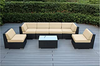 Ohana 7-Piece Outdoor Patio Furniture Sectional Conversation Set, Black Wicker with Beige Cushions - No Assembly with Free Patio Cover