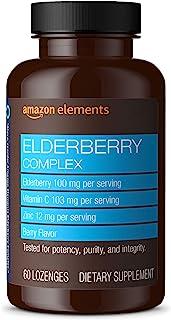 Amazon Elements Elderberry Complex, Immune System Support, 60 Berry Flavored Lozenges, Elderberry 100mg, Vitamin C 103mg, ...