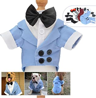 Lovelonglong 宠物服装狗狗套装正式燕尾服带黑色蝴蝶结,适合大型中型小型犬猫咪服装 浅蓝色 L-S (Medium Large Dog)
