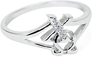 Chi Omega Sterling Silver Horizontal Ring set with Czs