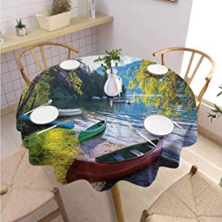 DILITECK Landscape Dining Round Tablecloth Bohinj Lake with Boats Canoes Triglav National Park Julian Alps Slovenia Print Round Table Diameter 54