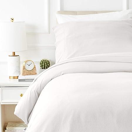 Amazon Basics Parure de lit avec housse de couette en flanelle 140 x 200 cm/65 x 65 cm x 1, Beige