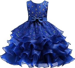 fa9bafdef37a0 Enfant Fille Robe Cérémonie Longue Strass Faux Perles Robe Princesse  Costume Habillée de Soirée Mariage Demoiselle