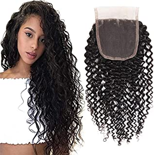 Feibin 10A Brazilian Kinky Curly Lace Closure Human Hair Curly Weave Virgin 4x4 Free Part Lace Closure Natural Color (10inch)
