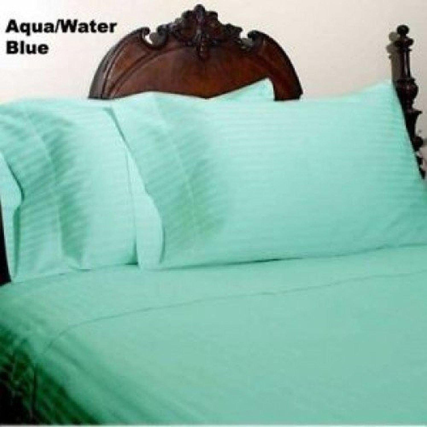 New  Aqua bluee  1000 Thread Count 4 Piece sheet set, 25 Inch Deep Pocket 100% Egyptian Cotton Bedding in Queen Size Stripe