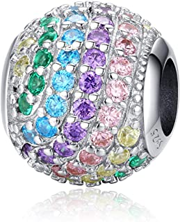 NINGAN Multi-Colors Rainbows Crystal Charm 925 Sterling Silver Charms Fit Pandora & Other European Bracelets and Necklaces