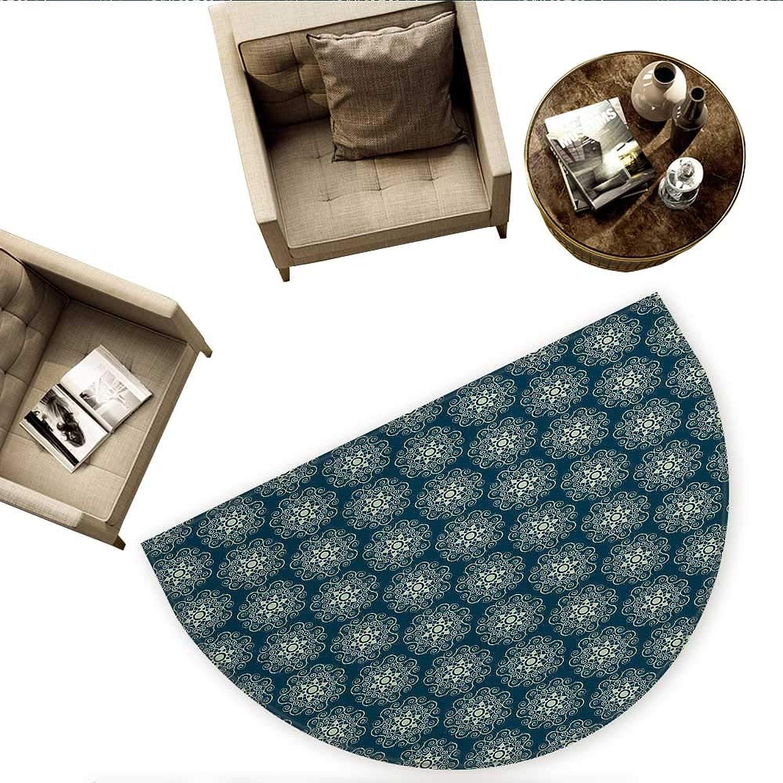 Victorian Semicircle Doormat Vintage Stars and Abstract Geometric Swirls Pattern Timeless Motifs Halfmoon doormats H 59  xD 88.6  Dark Teal and Pale Green