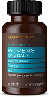 Amazon Elements Women's One Daily Multivitamin, 59% Whole Food Cultured, Vegan, 65 Tablets, 2 month supply (Packaging may ...