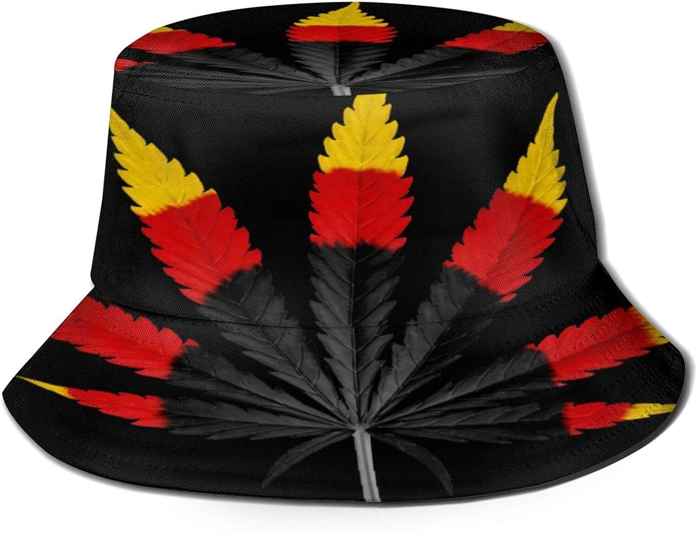 Three Color Cannabis Leaf Bucket Hat Unisex Sun Hat Summer Packable Fisherman Hats Black