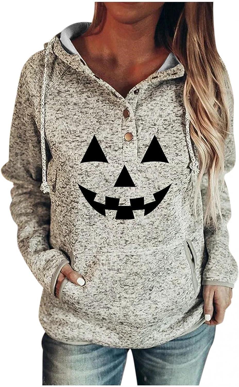 AODONG Women's Lightweight Halloween Print Hoodies Sweaters Loose Long Sleeve V Neck Drawstring Pullover Sweatshirts