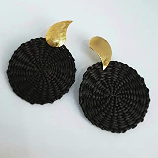 Colombian Natural Iraca Palm Earrings. Gold plated over Bronze and Iraca Palm earrings. Yin Yang Earrings. 24Kt Gold plated handmade earrings by D'Mundo Accesorios. 2