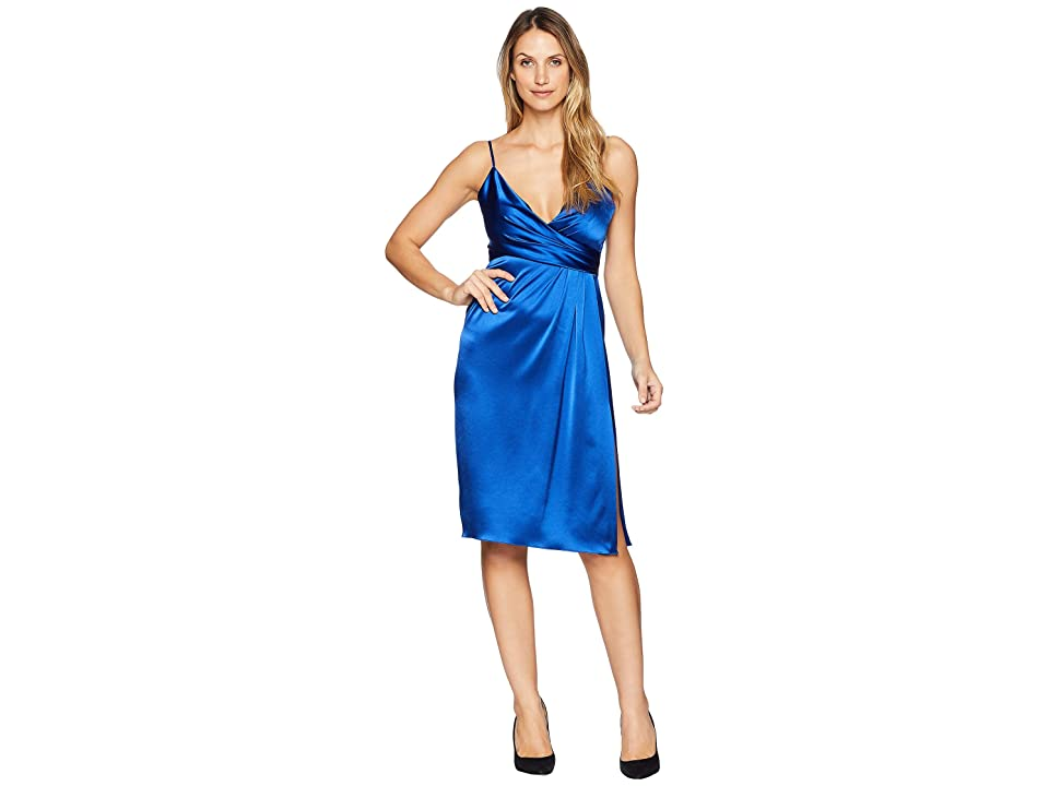 JILL JILL STUART Satin Wrap Cocktail Dress (Royal Blue) Women