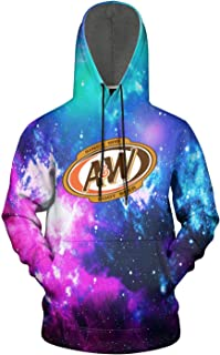 FUEWJFDIW 3D Printed Galaxy Fleece Hooded Sweatshirt for Men A&W-Root-Beer-Logo- Pullover Hoodie Sweatshirt