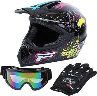 Samger DOT Adult Offroad Helmet Motocross Helmet Dirt Bike ATV Motorcycle Helmet Gloves Goggles (M, Black)