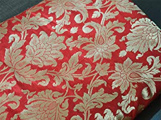Silk Brocade Fabric in Red and Gold with Motifs Weaving Indian Silk Dresses Fabric Pure Banaras Brocade