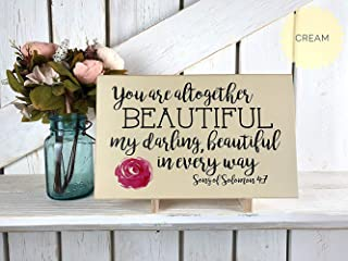 You are Altogether Beautiful My Darling Wood Sign Song of Solomon 4:7 Scripture