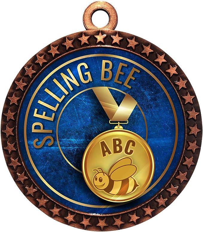 Spelling Bee Education Academic Medal 50mm Award FREE Engraving /& Neck Ribbon 76