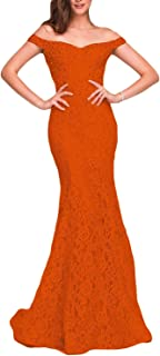 Jonlyc Off The Shoulder Lace Beaded Long Mermaid Prom Dress Women's Formal Gowns