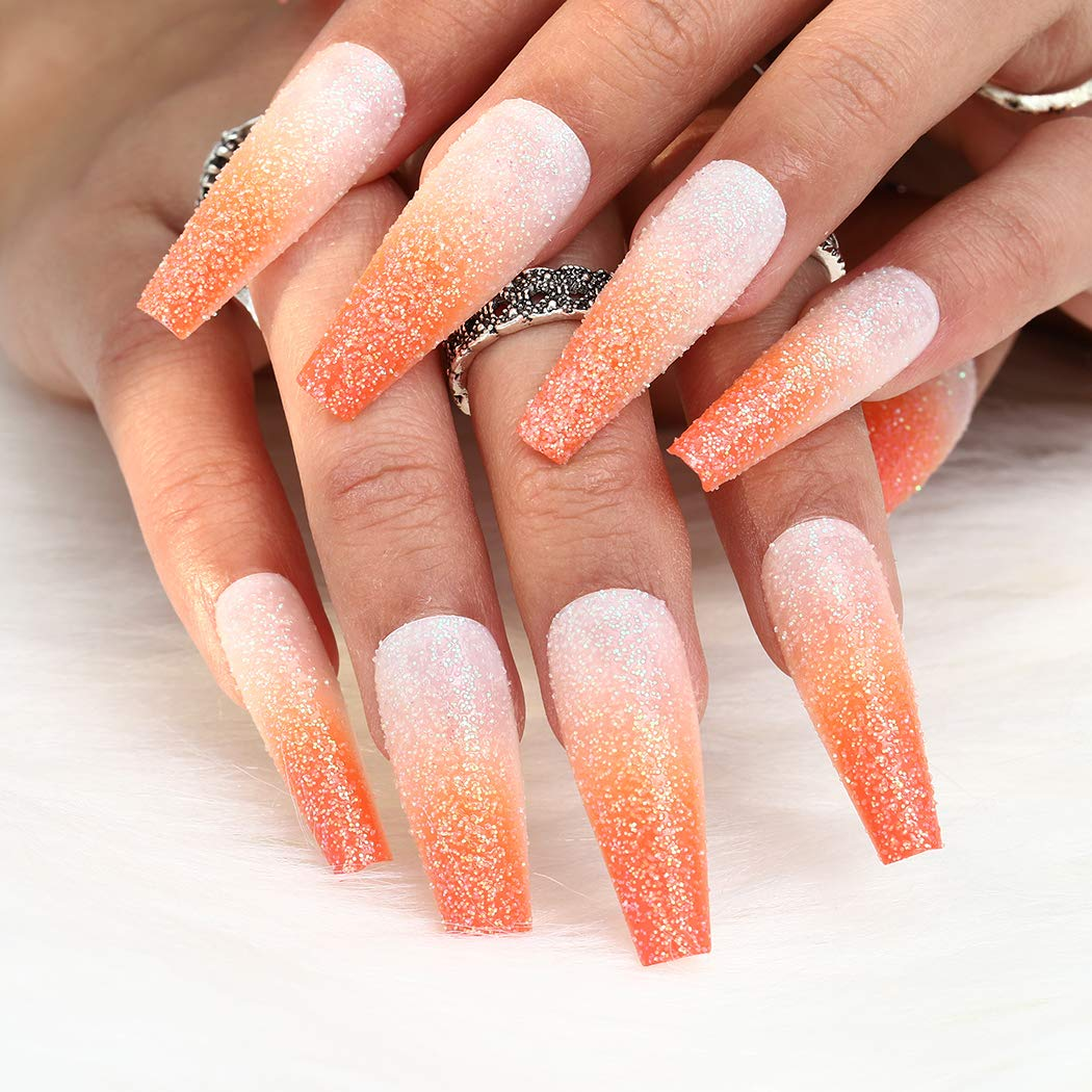 Aksod Glossy Gradient Orange Press on Ranking TOP15 Nails Ombre Extra Fro Long Max 51% OFF