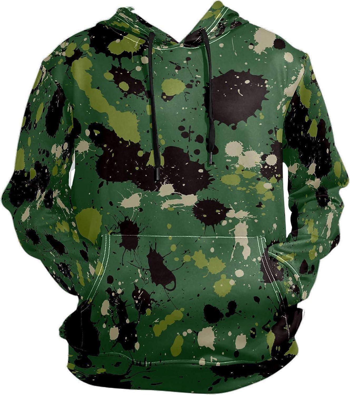 Men's Sport Hoodie Green Camouflage Splash Ink Big and Tall Hoodies for Men Women Oversized Hooded Sweatshirt Hip Hop Pullover Hoodie Midweight Hood for Boys Girls