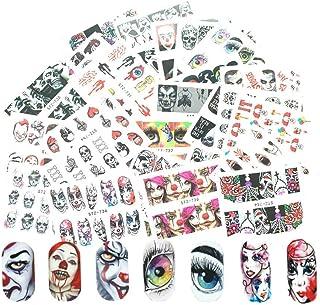 Rain Bingo 25 Sheeets Halloween Nail Tattoo Stickers-Scary Bloody Nail Art Sticker Decals Tattoo Manicure DIY Decor for Fi...