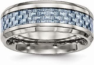 Jewelry Stores Network Mens 8mm Titanium Light Blue Carbon Fiber Inlay Wedding Band Ring