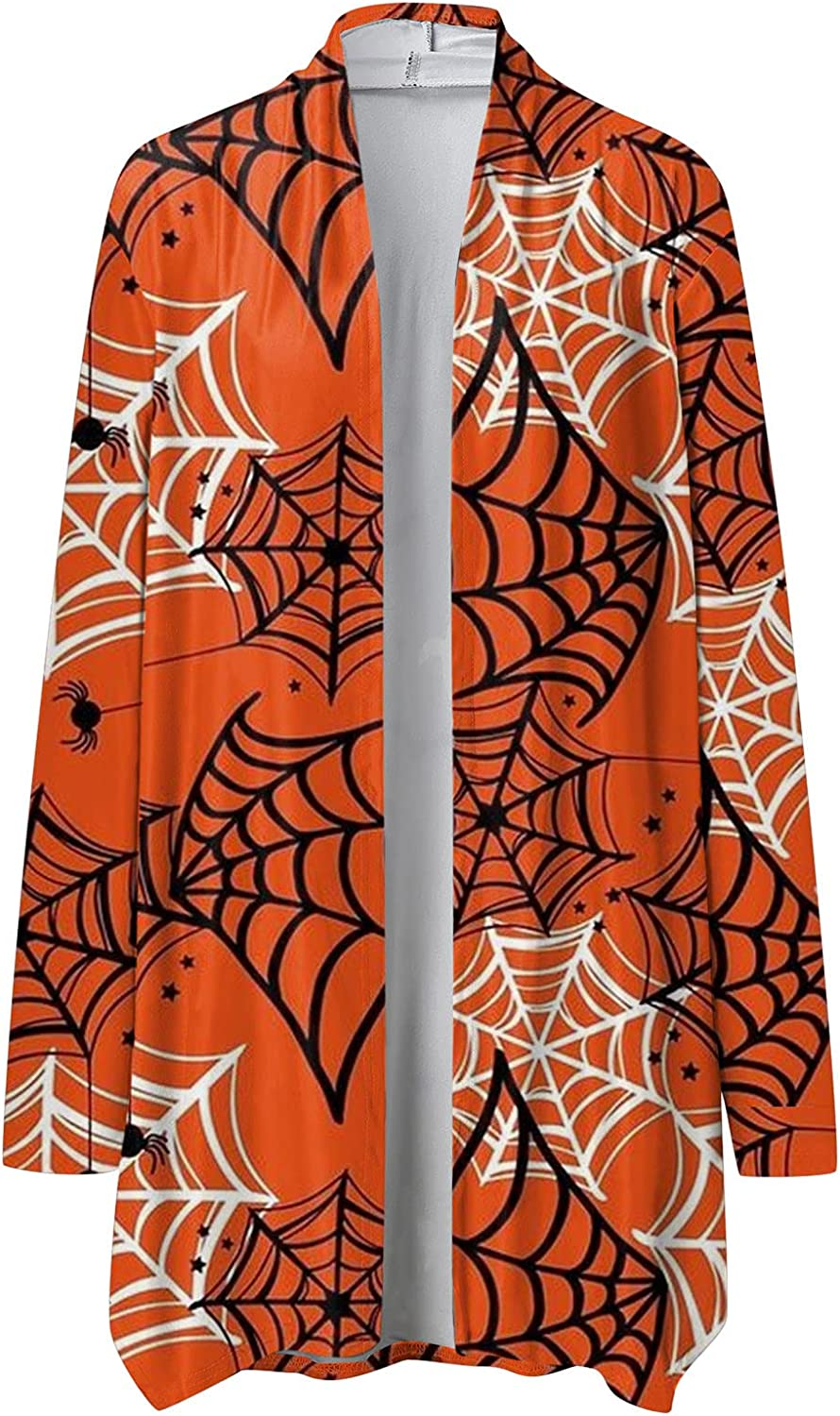 Cardigan Sweaters for Women,Womens Long Sleeved Halloween Costumes Ghost Graphic Open Front Tops Comfort Sweatshirts