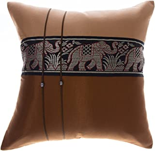 Avarada 16x16 Inch (40x40 cm) Striped Elephant Decorative Throw Pillow Case Cushion Cover for Sofa Couch Chair Bed Insert Not Included Zipper Beige Brown