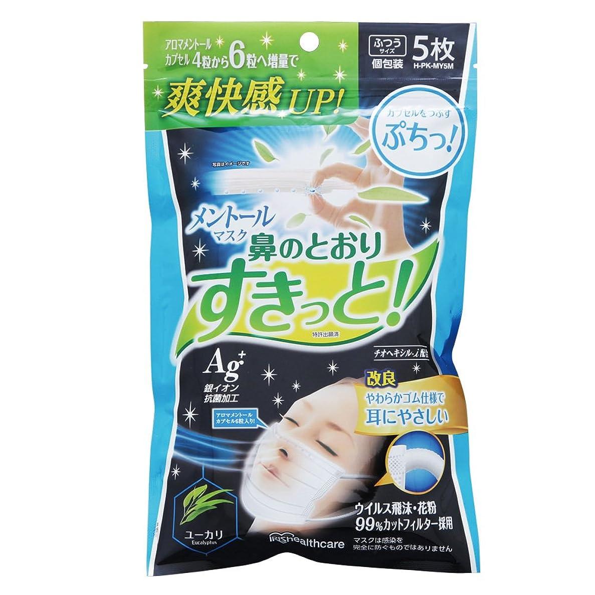 不潔不毛の悪性のアイリスオーヤマ マスク メントール ユーカリ 香り ふつう 5枚入 個包装 H-PK-MY5M