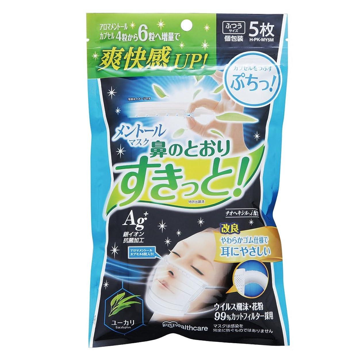 拍車汚れた動物アイリスオーヤマ マスク メントール ユーカリ 香り ふつう 5枚入 個包装 H-PK-MY5M