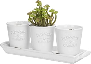 MyGift Farmhouse Style White Ceramic Mini Succulent Pots with Handled Display Tray, 4-Piece Set