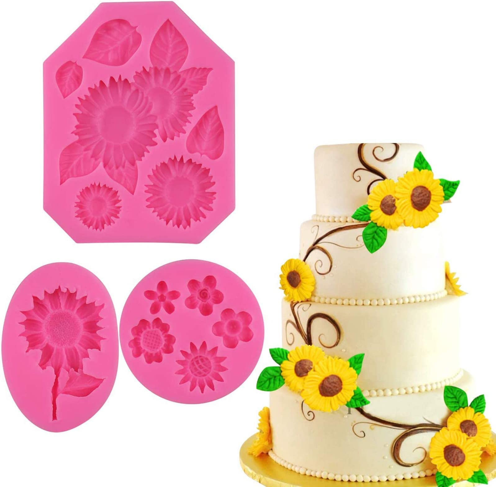 Flexible silicone mold for resin and clays Little flower mini mold 12 wide Fondant or gumpaste mold for mini cupcake topper M5224