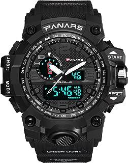 Men's Big Dial Sport Watch 5 ATM Waterproof Digital Quartz Watch Casual Watch for Men and Women Ø56mm (Black)