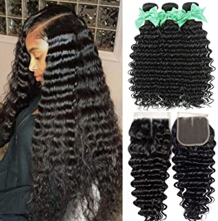 8A Deep Curly Bundles With Middle Part Lace Closure 4inch x 4inch Deep Wave Closure 100% Unprocessed Loose Deep Human Hair Weave Bundles Extensions Can Be Dyed (16 14 12+10closure)