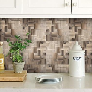 Decopus Metal Tile Backsplash Peel and Stick (IS50 Square Maze Copper Gold) (IS Copper Gold, 5pc/pack)