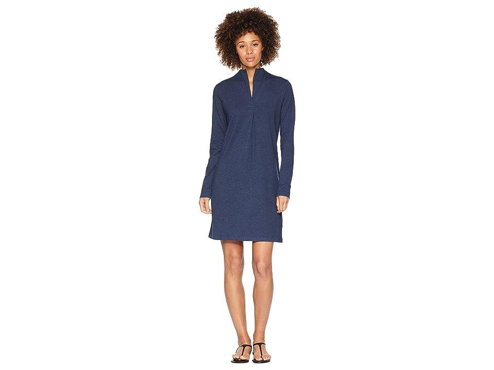 NAU Long Sleeve Elementerry Mock V Dress (Prussian Heather) Women