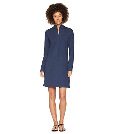 NAU Long Sleeve Elementerry Mock V Dress (Prussian Heather) Women