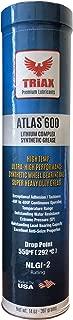 Triax Atlas 600 Full Synthetic High Temp NLGI-2 | Wheel Bearing, Heavy Duty Ultra High Performance Grease | Virtually Waterproof (Marine) | High Adhesion | High EP Rating (1 Tube)