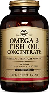 Solgar Omega-3 Fish Oil Concentrate, 240 Softgels - Support for Cardiovascular, Joint & Brain Health - Contains EPA & DHA Omega 3 Fatty Acids - Non GMO, Gluten Free, Dairy Free - 120 Servings