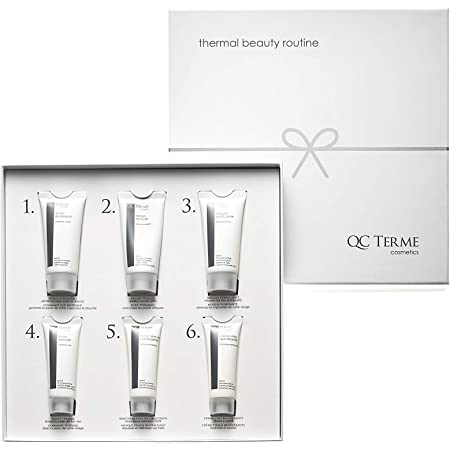 QC Terme Kit per Beauty Routine con Blend di Acque Termali, Made in Italy, Senza Parabeni, Petrolati e Siliconi, Elegante Cofanetto Regalo, Kit Cosmetico in Confezione Regalo