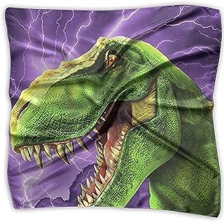 Pizeok Green Dinus Print 100% Silk, Silk Scarf Square, Small Handkerchief, Bandana Classic Square Scarf Small