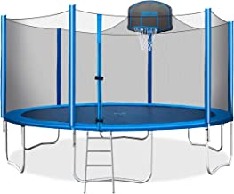 Merax 15 FT Trampoline with Safety Enclosure Net, Basketball Hoop and Ladder - 2020 Upgraded � Kids Basketball Trampoline