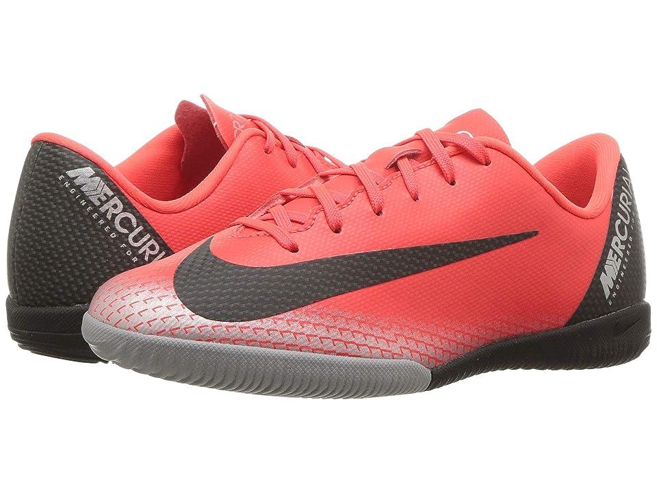 Nike Kids VaporX 12 Academy CR7 IC Soccer (Little Kid/Big Kid) (Bright Crimson/Black/Chrome Dark Grey) Kids Shoes
