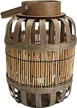 FRCOLOR Wood Hanging Lantern Candle Holder Rattan Rustic Vintage Lantern Table Centerpiece Decorative Lamps for Garden S