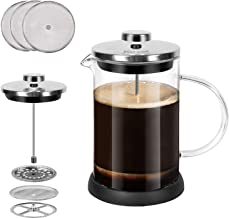 Glass French Press Coffee Maker (20 oz, about 5 cups), 600 ml Stainless Steel Coffee Press with 3 Extra Filter Screens, Heat Resistant Borosilicate Glass with Large Capacity