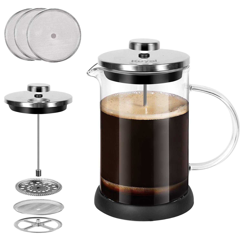 Kuyal Cafetera de prensa francesa, prensa de té de acero inoxidable para café mañanero con 3 filtros de café adicionales 5 tazas/600 ml: Amazon.es: Hogar