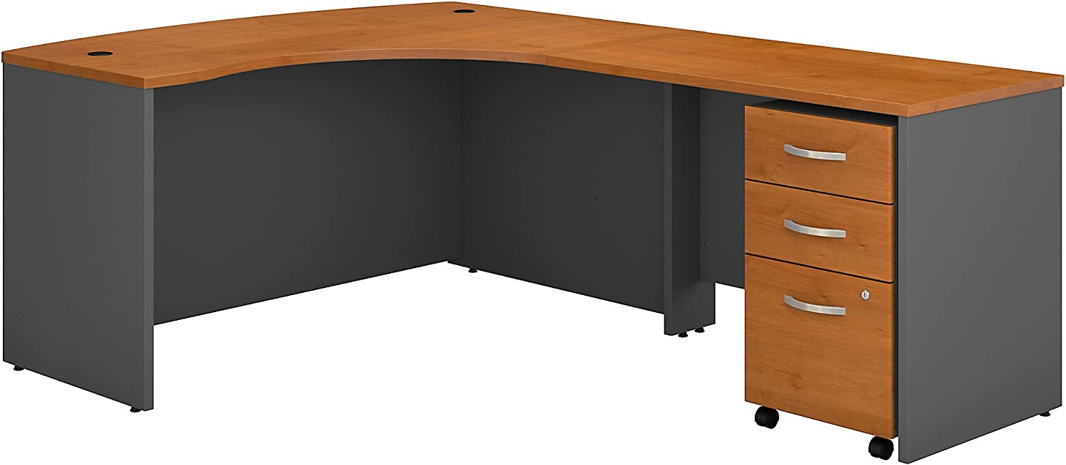 Bush Business Furniture Series C Right Handed L Shaped Desk with Mobile File Cabinet in Natural Cherry